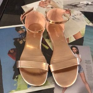 Rose gold ankle strap sandals